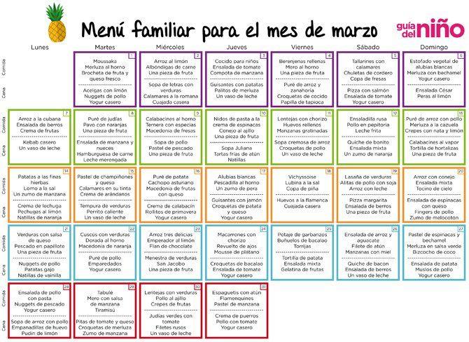 menu mensual saludable familiar