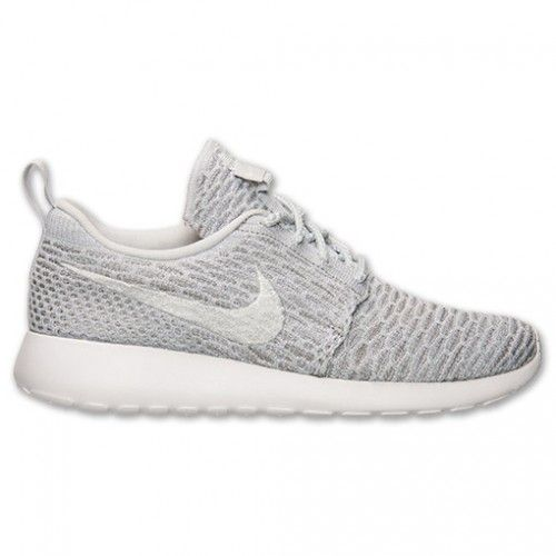 88216777d21e Women s Nike Roshe One Flyknit Casual Shoes Wolf Grey Pure Platinum White