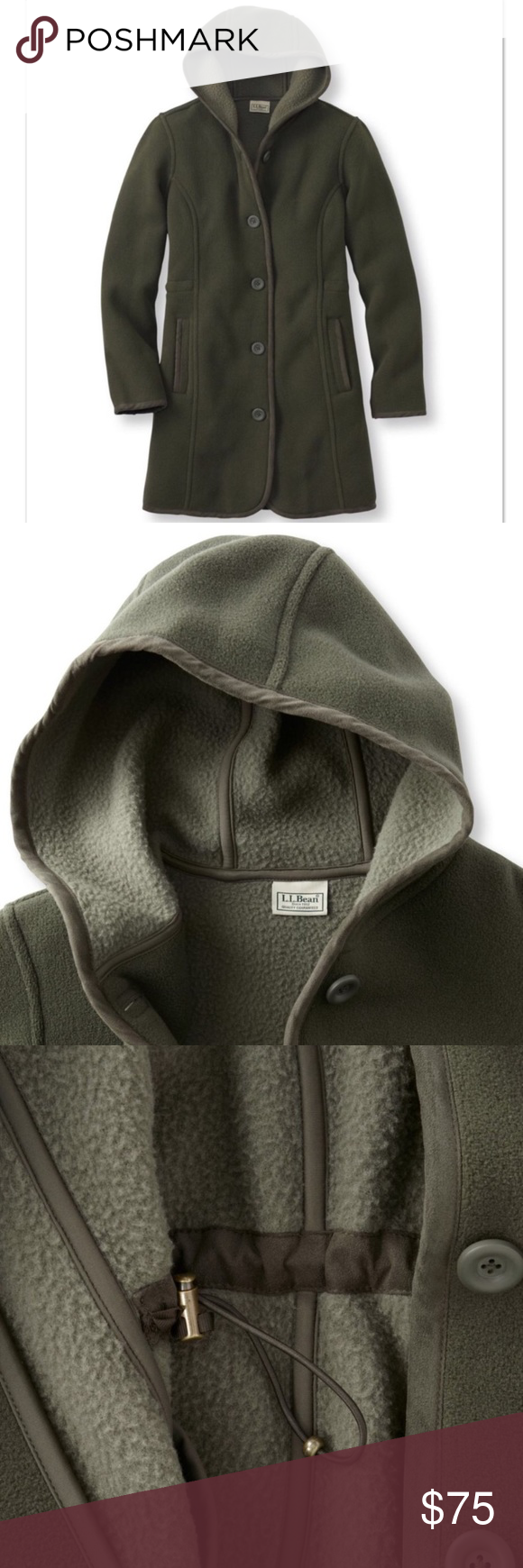 NWT LL Bean Kingfield Fleece Hooded Coat, P. Small NWT | Comfort ...