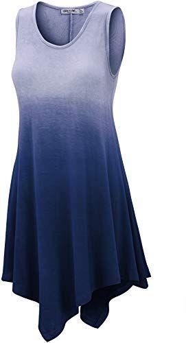New LL Womens Sleeveless Boho Tie-Dye Ombre Tunic Tank Top ...