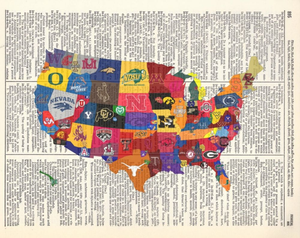 College football Nation US map Cool MAPS Pinterest College
