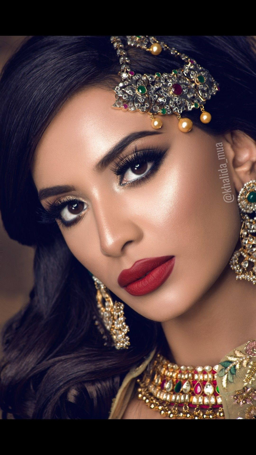 Indian Bridal Soft Makeup With Red Lips Smokey Eyes And Dramatic