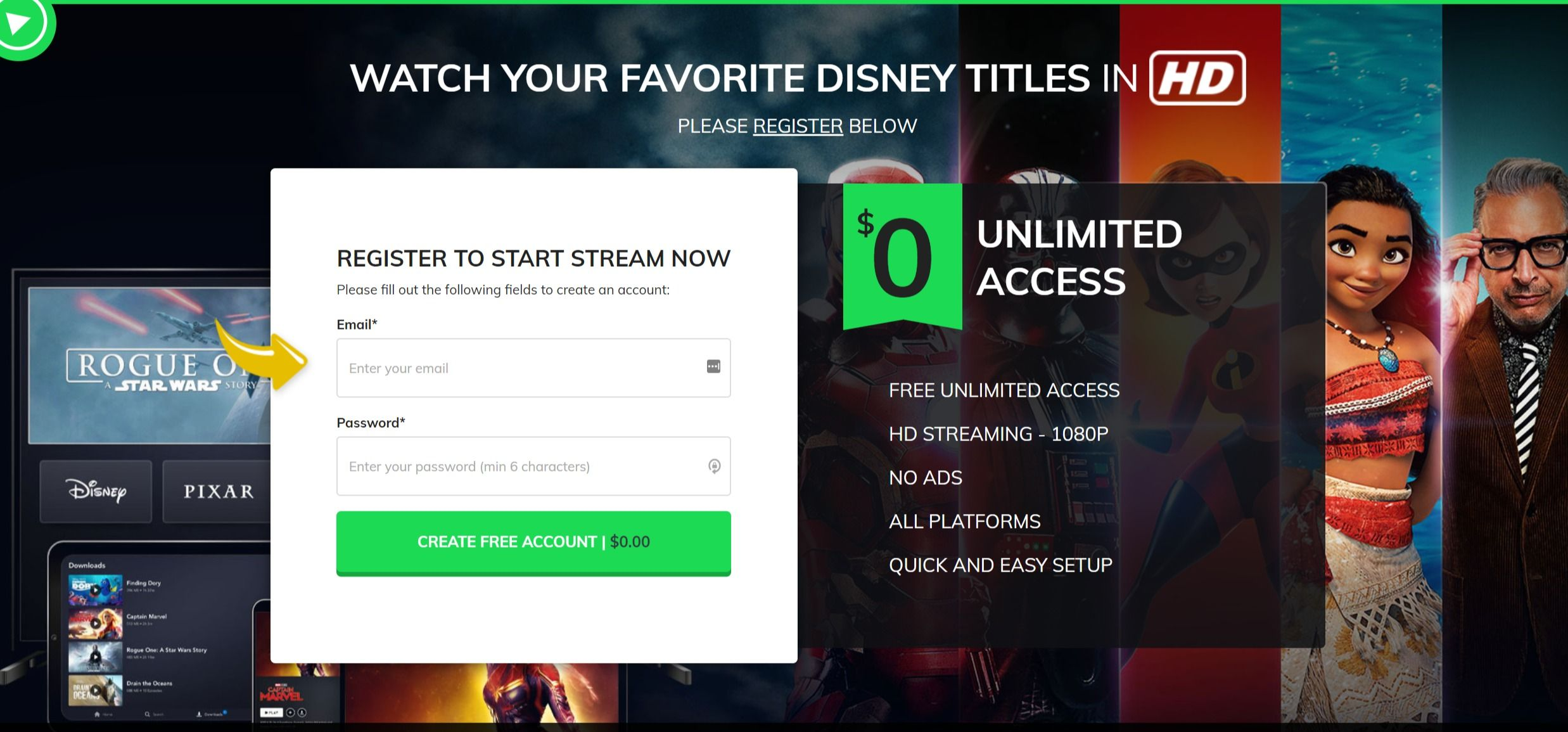 Watch your favourite Disney titles Streaming movies