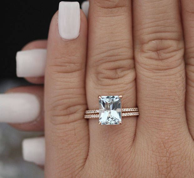 Bridal Ring Set With 10x8mm Emerald Cut Aquamarine And Diamonds In 14k Rose Gold