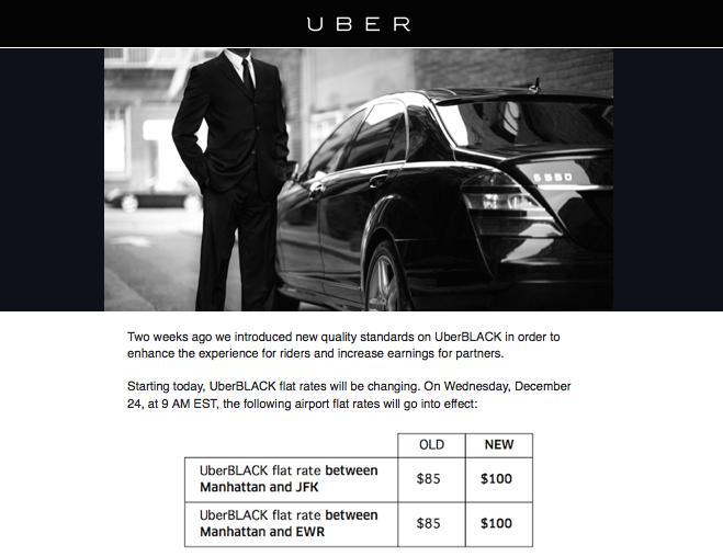 Uberblack Nyc Airport Flat Rate Prices Increase Today Uber Black Car Uber Black Black Car