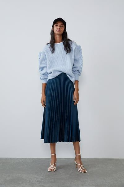 PLEATED SATIN EFFECT SKIRT #mittellangeröcke