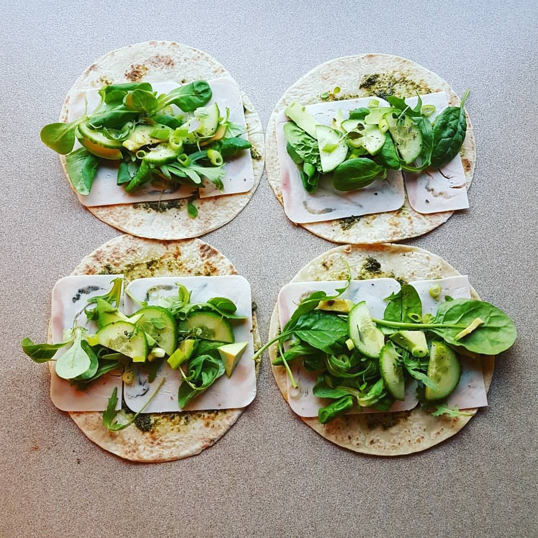 Togturmatpakke Lomper Med Pesto Kalkunpålegg Salat Avokado