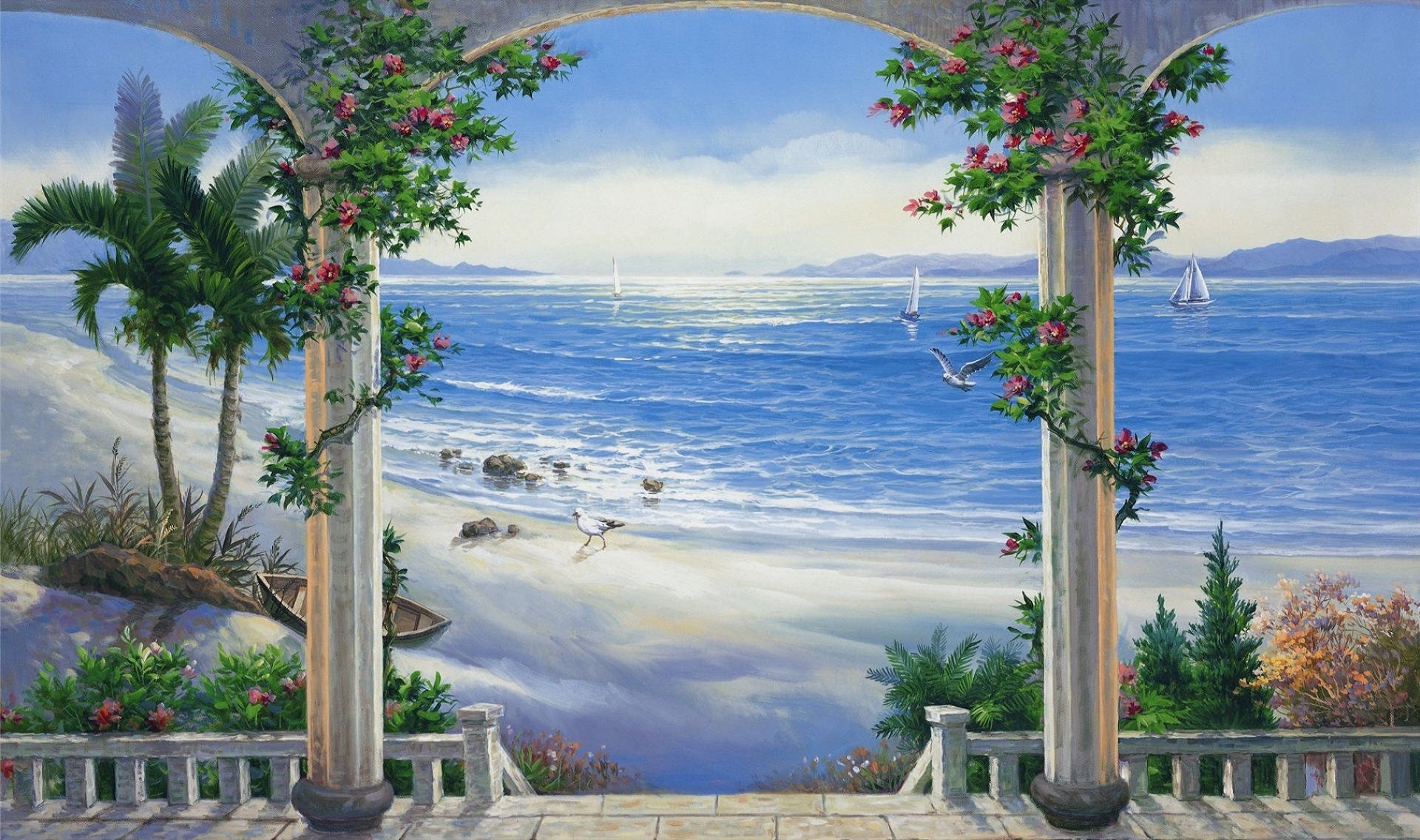 Ext beach balcony large episodeinteractive episode size for Beach mural wallpaper