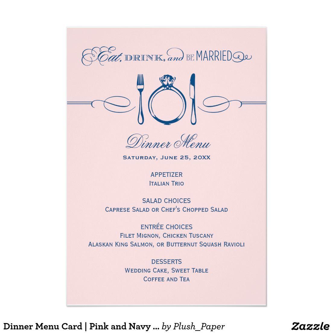 Dinner Menu Card  Pink And Navy Be Married  Menu Cards