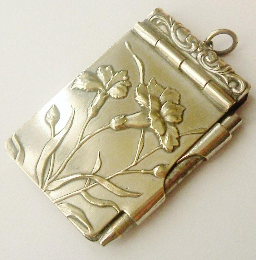 French art nouveau silver plated carnation carnet de bal