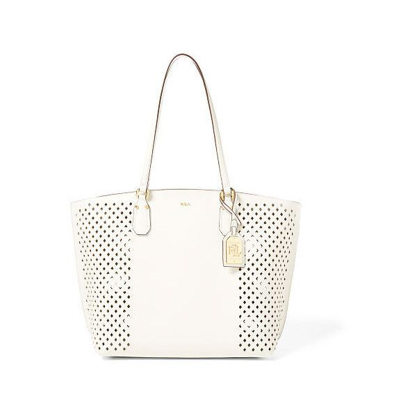 717e623fd867 Ralph Lauren Lauren Diamond-Perforated Tanner Tote (€140) ❤ liked on  Polyvore