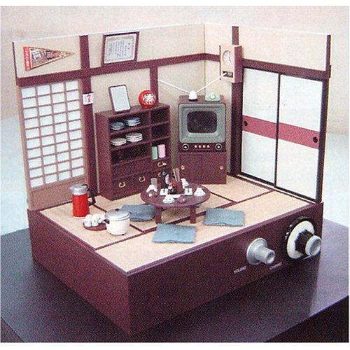 japanese living room diorama with working 1 5 inch tv dollhouse inspiration japanese living. Black Bedroom Furniture Sets. Home Design Ideas