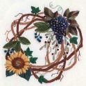 Grapes & Sunflower Wreath (Brazilian embroidery)