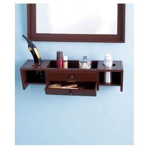 brown bathroom shelving ideas | Brown-Vanity-Shelf-Bathroom-Wall-Mount-Organizer-Storage ...