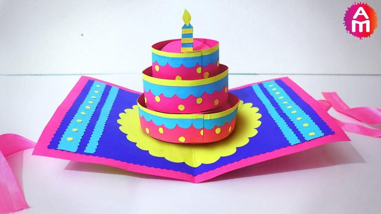 Diy Beautiful Handmade Happy Birthday Card Dÿz 3d Cake Pop Up Card Artsy Madhu 35 Youtube Happy Birthday Cards Diy Birthday Cards Happy Birthday Cards