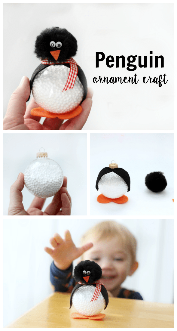 Make a Darling Penguin Craft Out of a Clear Ornament #holidaycraftsforkidstomake