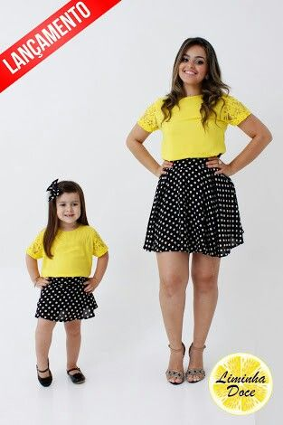 Look Mae e filha Manga Longa Infantil