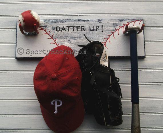 Baseball Decor Rack Gear Holder Wall Hook Hanger Ball Team Etsy Baseball Decor Diy Hat Rack Hanging Baseball Hats On Wall