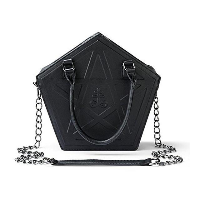 2018 Pentagram Leviathan Cross Punk Darkness Gothic Five Star Women Black Messenger Bag Handbag Chain
