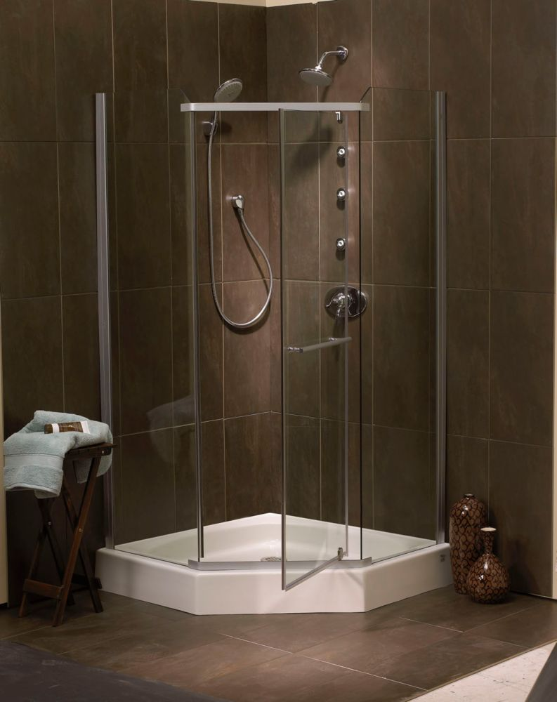 Sorrento 42 Inch Acrylic Frameless Neo-Angle Shower Door & Base ...
