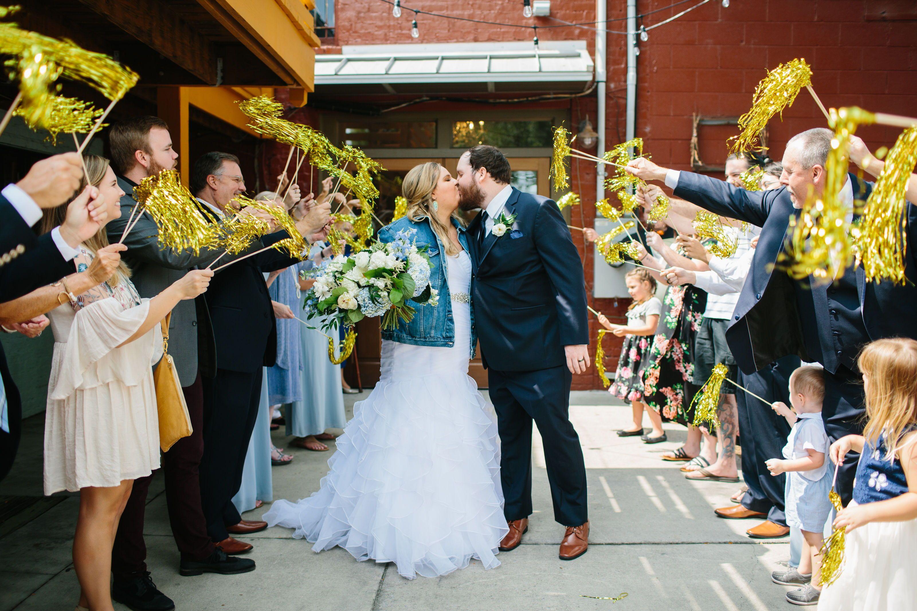 Streamer Send Off Knoxville wedding, Urban wedding
