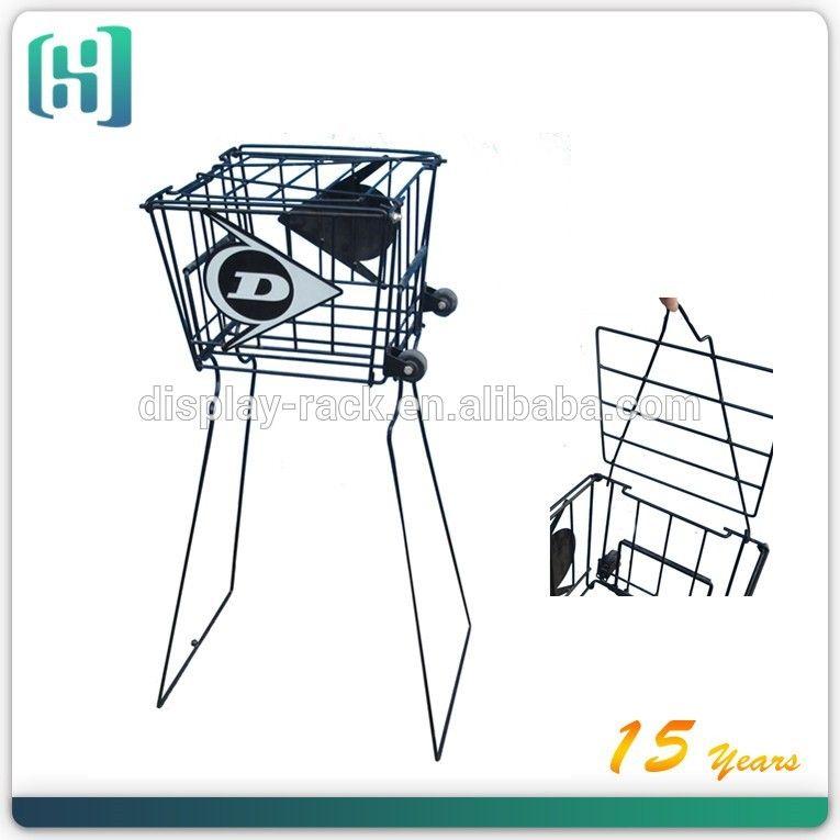 Guangdong Hot Sales Black Wire Metal Folding Tennis Ball Cart With Wheels Tennis Ball Basket Tennis Basket Bags Tennis Basket Metal