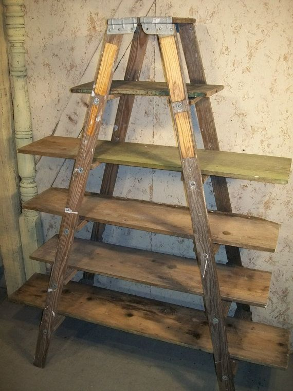 Double 6 Step Ladder Shelf Frame We Will Paint Or Leave It Wood Ladder Decor Ladder Shelf Ladder Decor