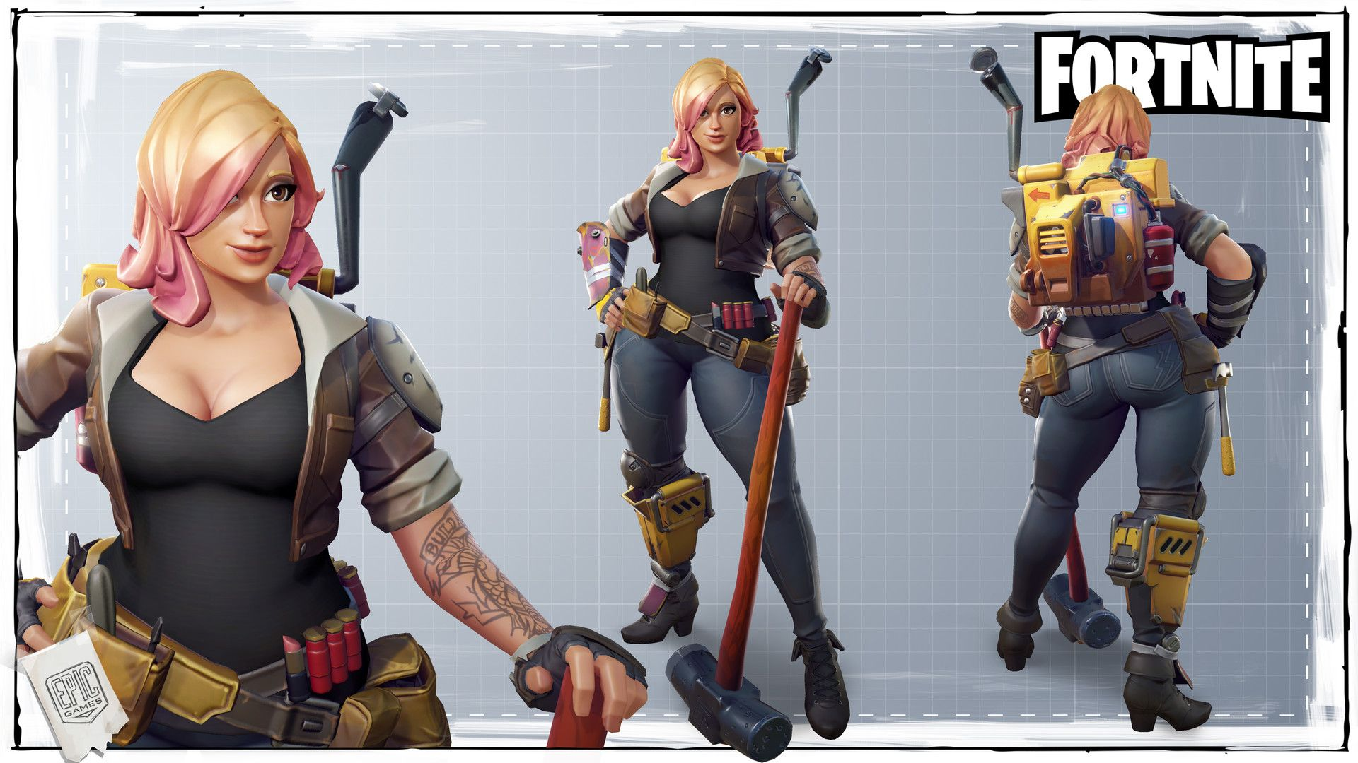 This is the female constructor model I created for Fortnite