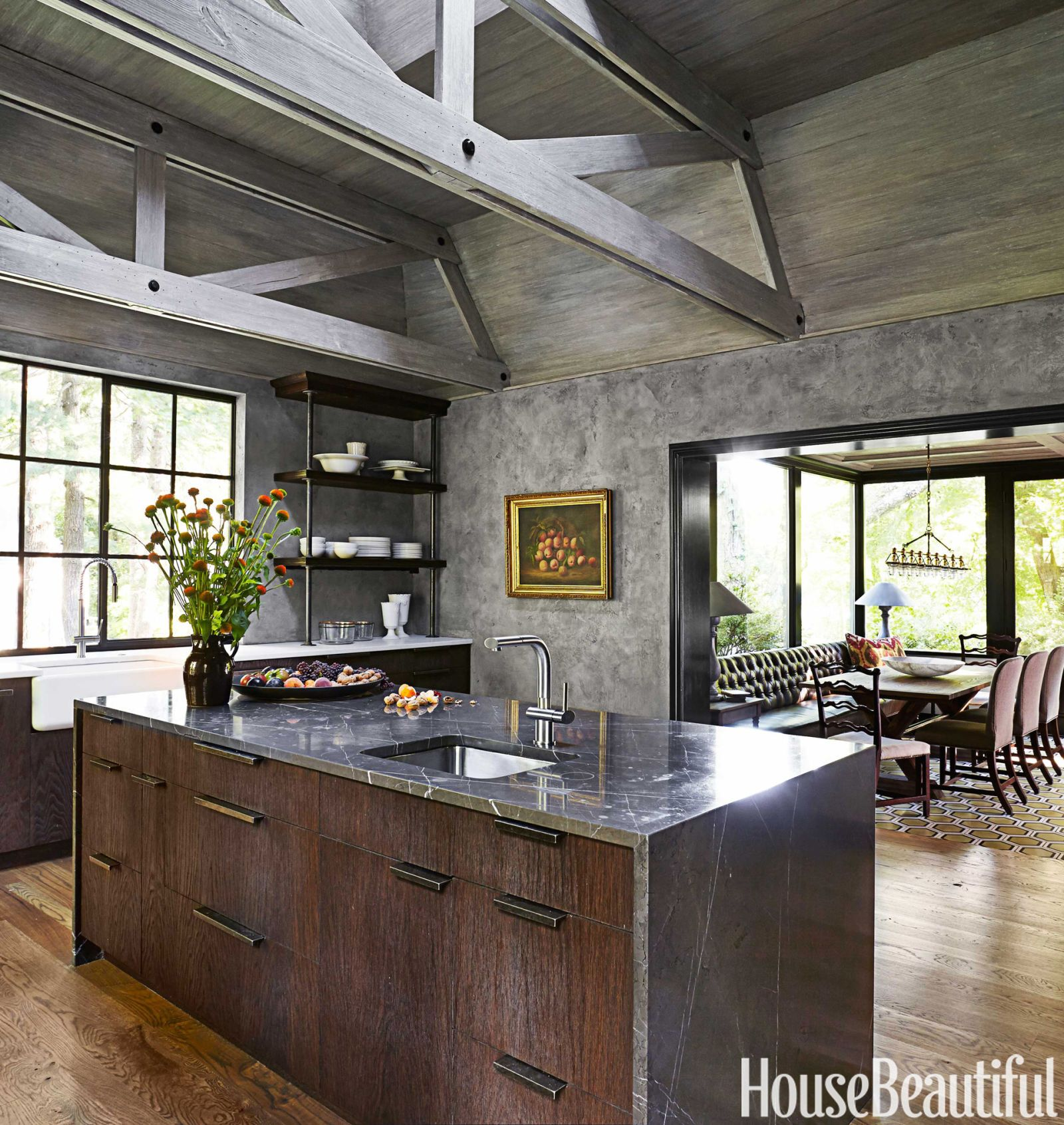 Tactile Materials And Architectural Details  Wire Brushed Oak Cabinets,  Cement Plaster Walls,