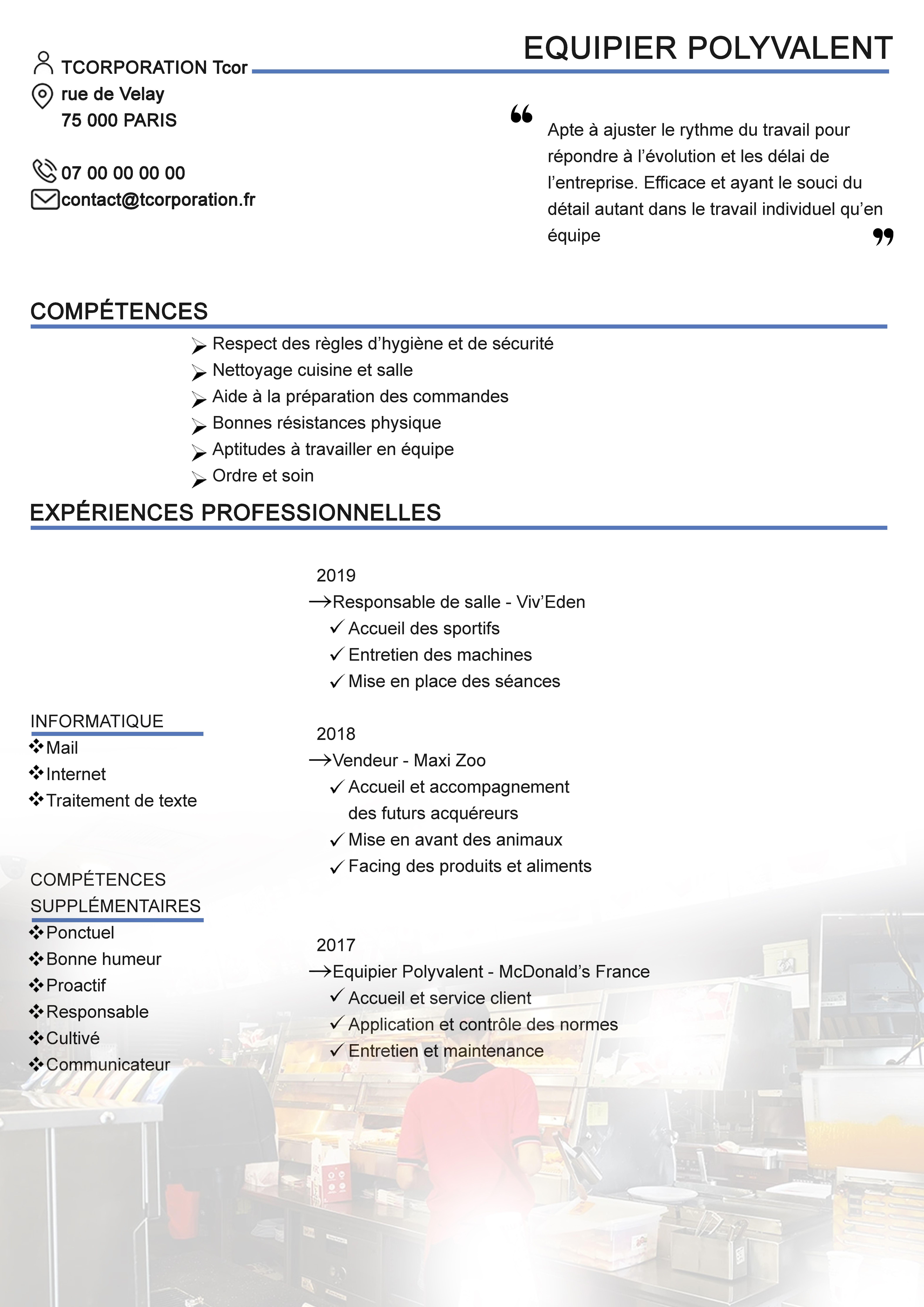 Equipier Polyvalent Cv Experiences Professionnelles Formations Competences Cv Simple Competences Travail Individuel