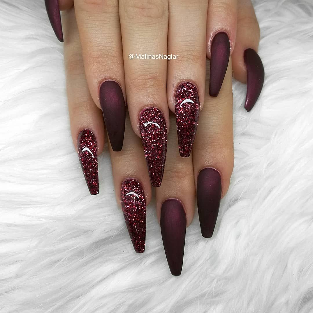 Malin Almqvist Gbg Sweden On Instagram Black Cherry With Selfmixed Glitter Cherry Nails Wow Nails Coffin Shape Nails