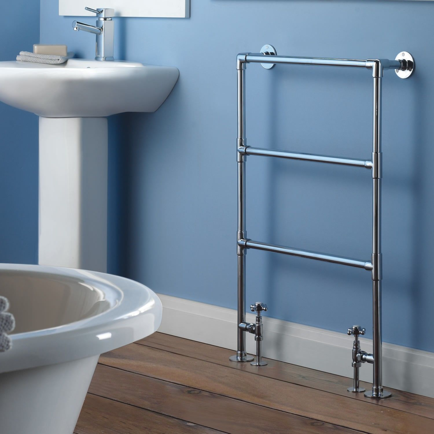 This heated towel rail will give your bathroom a traditional touch ...
