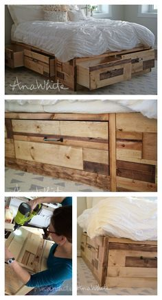 Brandy Scrap Wood Storage Bed With Drawers Queen Bed