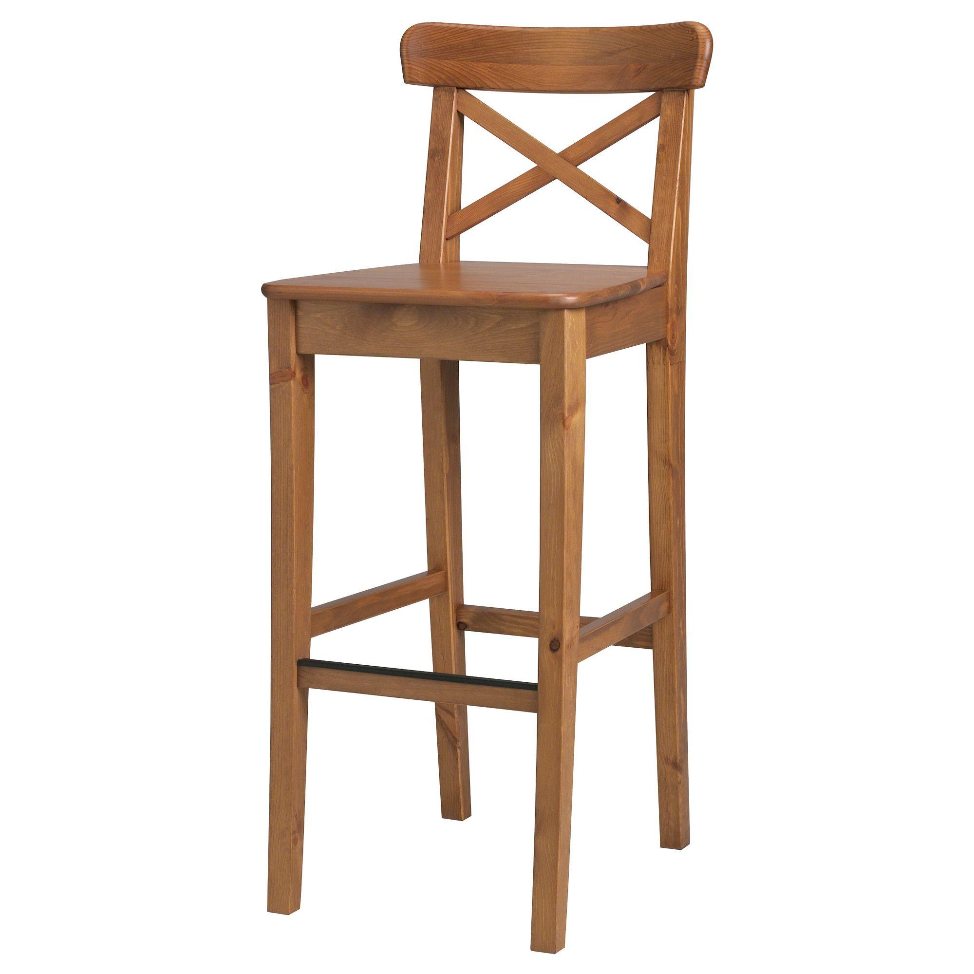 kitchen island bar stools - INGOLF Bar stool with backrest ...