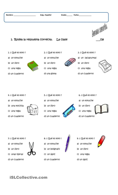 Examen Spanish Learning Activities Teaching Spanish Elementary Spanish