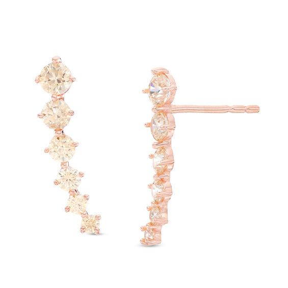 Graduated Champagne Cubic Zirconia Crawler Earrings In 14k Rose Gold Piercing Pagoda In 2020 Crawlers Earrings Rose Gold Jewelry Piercing Pagoda