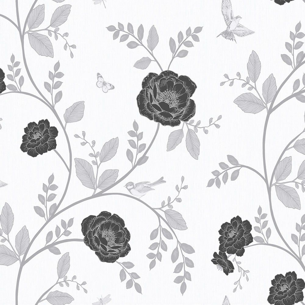 Rosanna Floral Black and White Wallpaper Black and white