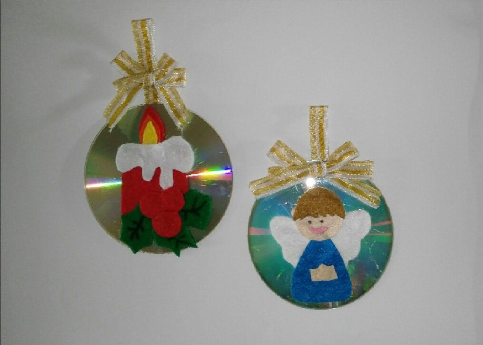 Como hacer adornos navide os con cd para el arbol de - Para navidad manualidades ...