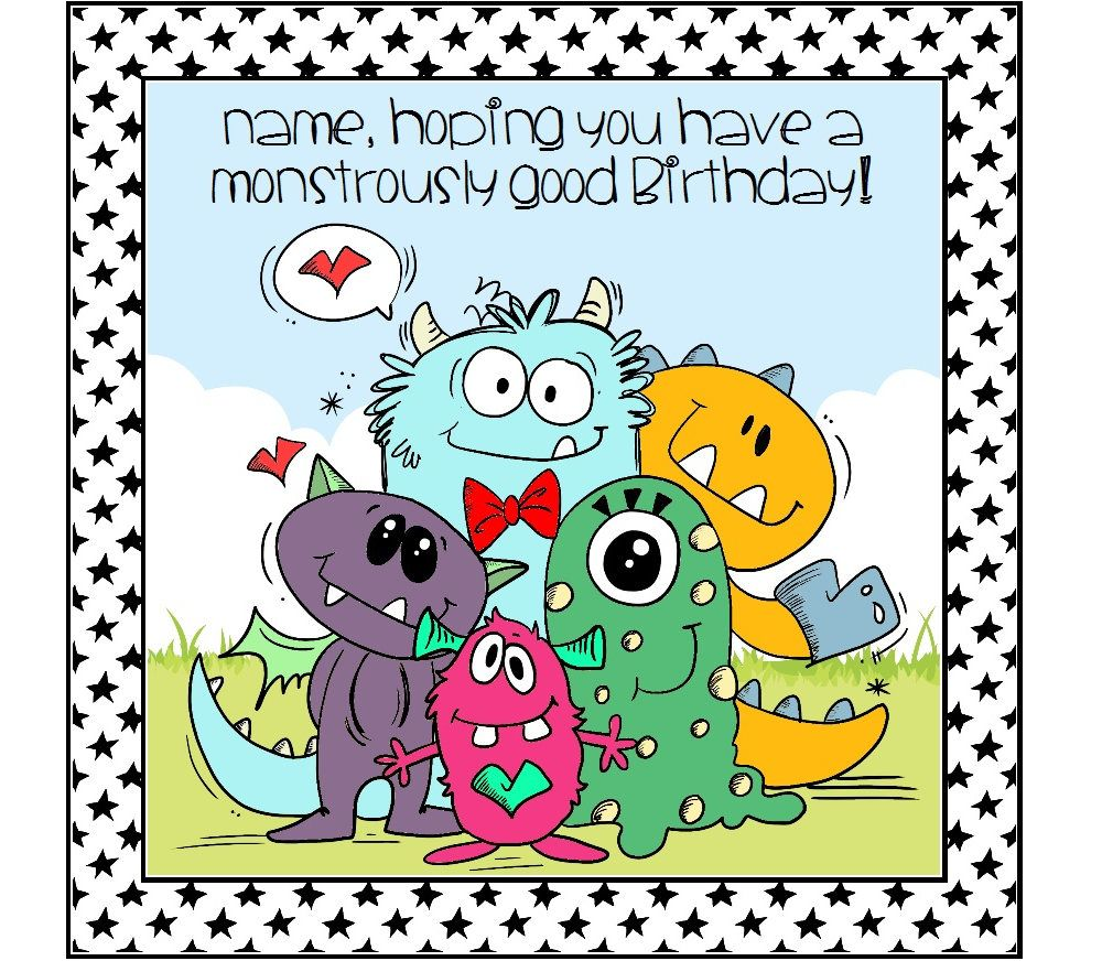 Funny Monster Birthday Card Personalised Card For Boy Birthday