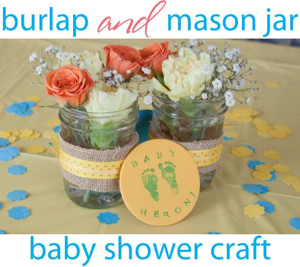 Babies · Burlap U0026 Blue Mason Jars ~ DIY Baby Shower Centerpieces
