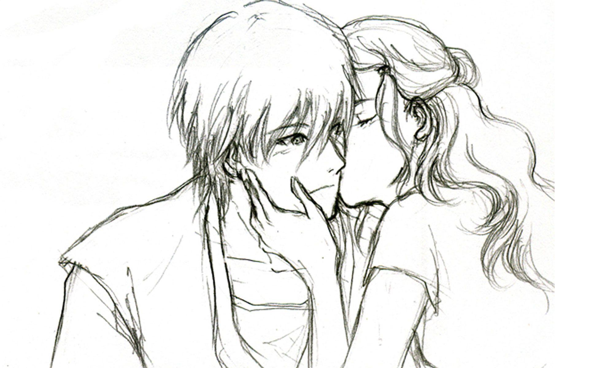 Pencil Sketch Love Couple Wallpaper Pencildrawing2019