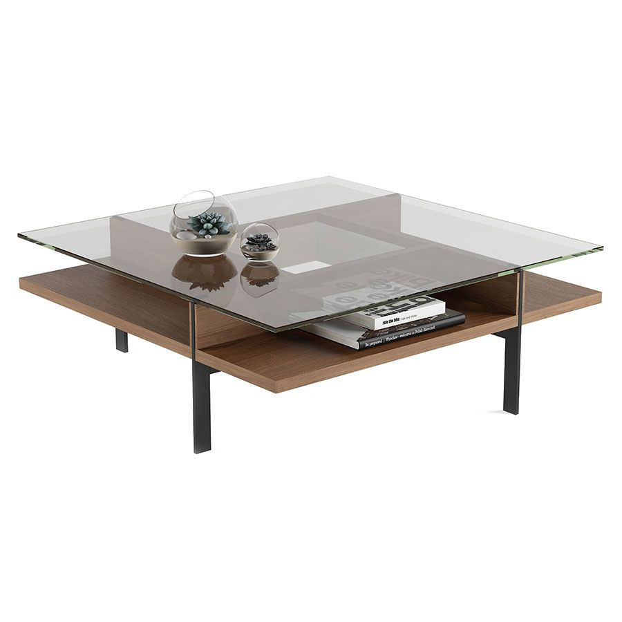 Terrace Contemporary Square Walnut Coffee Table By Bdi Coffee