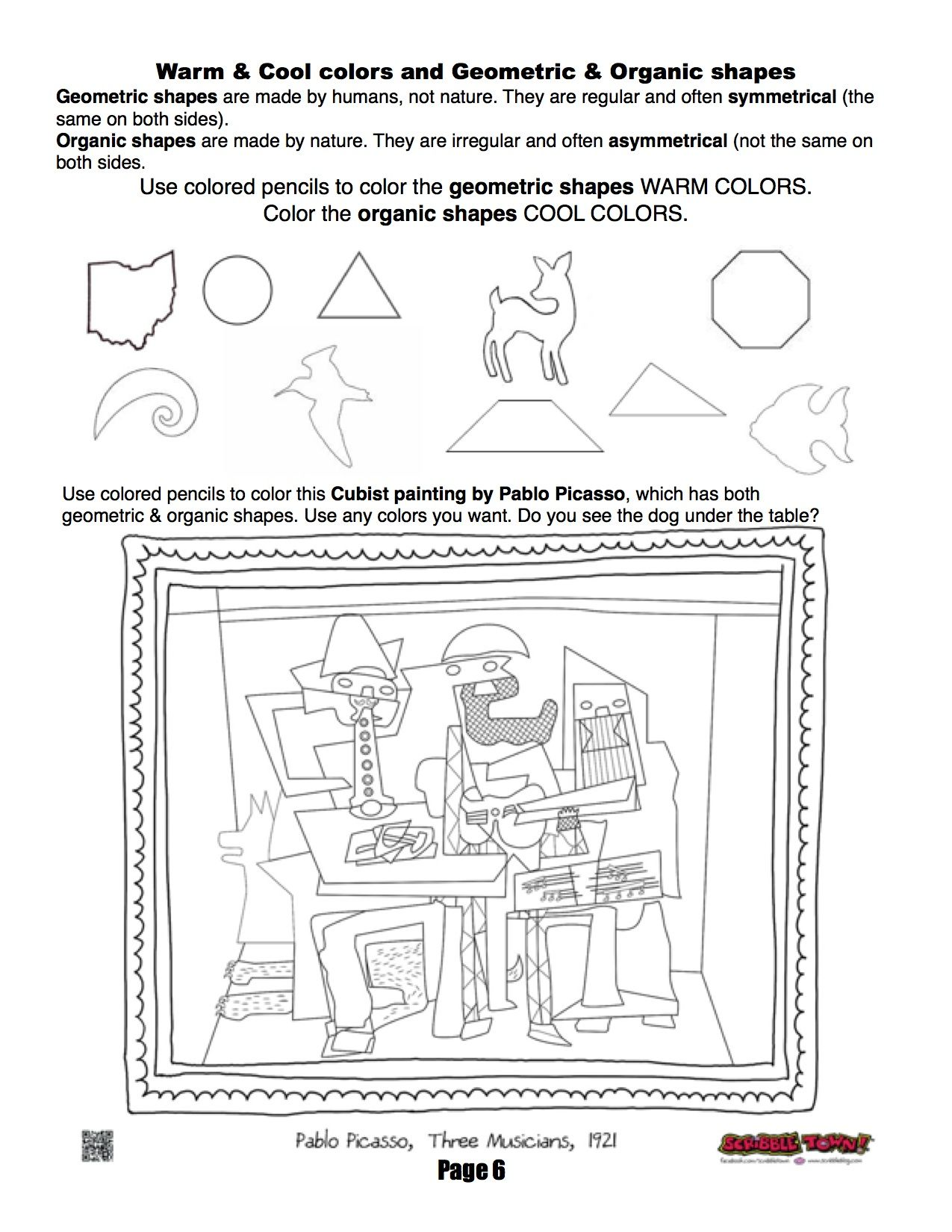 Ms. Mo's art room 4th grade workbook page about organic and geometric shapes.    Art handouts [ 1650 x 1275 Pixel ]
