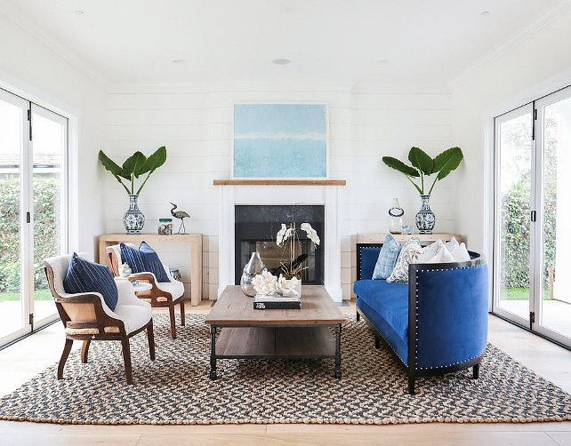Transitional Living Room With Coastal Vibe And Blue: Living Room. Transitional Living Room With Blue And White
