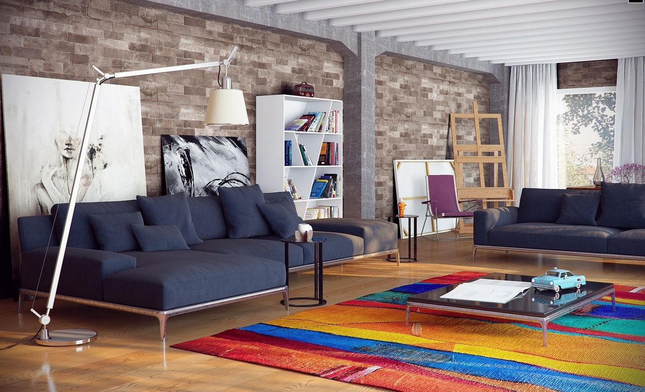 living roomstunning city loft decor ideas laminate flooring coloring fur rug blue sofa design small lamp glass window with curtain bookcase design lovely