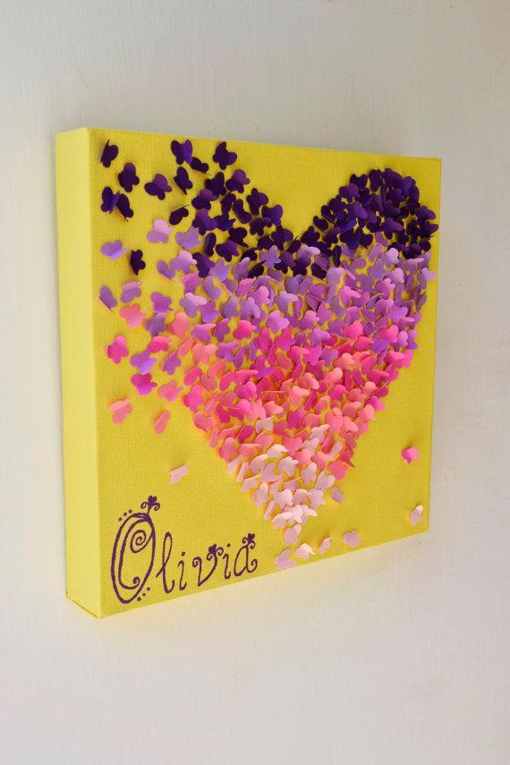 Personalized Ombre Butterfly Heart/ 3D Butterfly Wall Art / Nursery ...