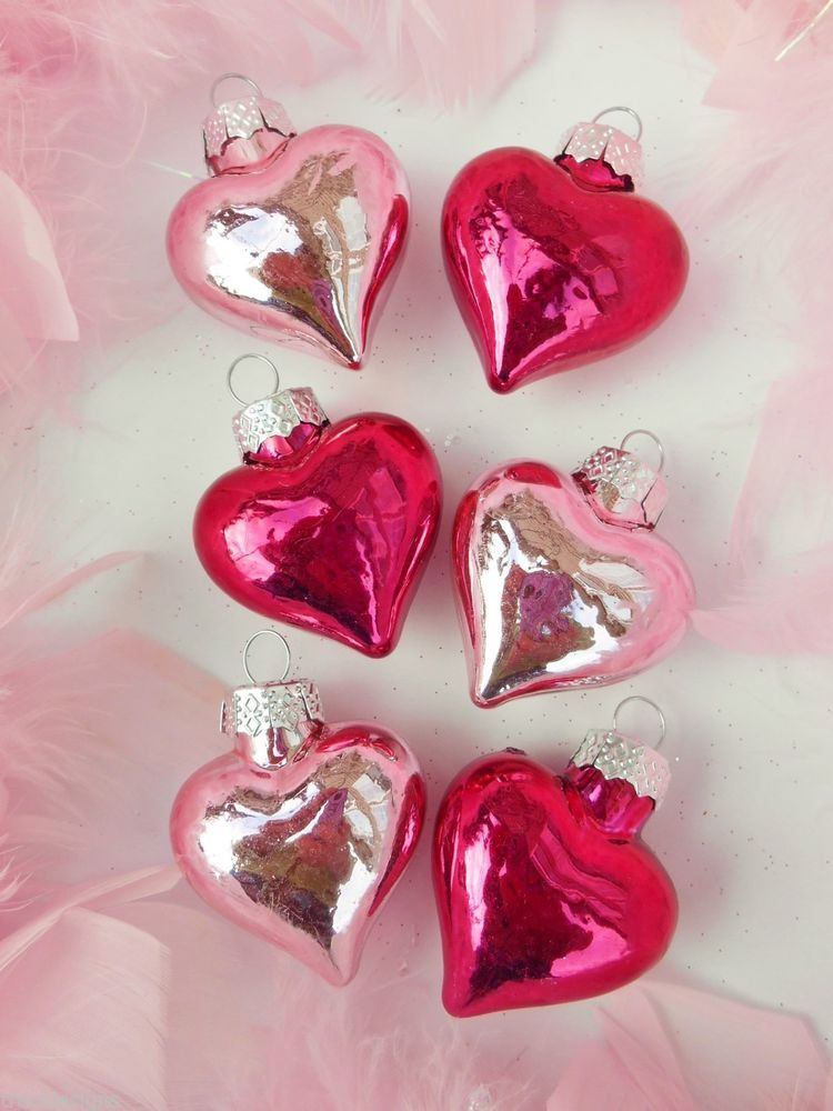 NR! Lot/6 Shabby Pink Mercury Glass Heart Valentine's Day Feather Tree Ornaments