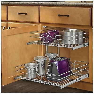 Deep Base Cabinet Pull Out Chrome Wire Basket At Menards®: Rev A Shelfu0026reg;  W X 22 In. D Base Cabinet Pull Out Chrome Wire Basket