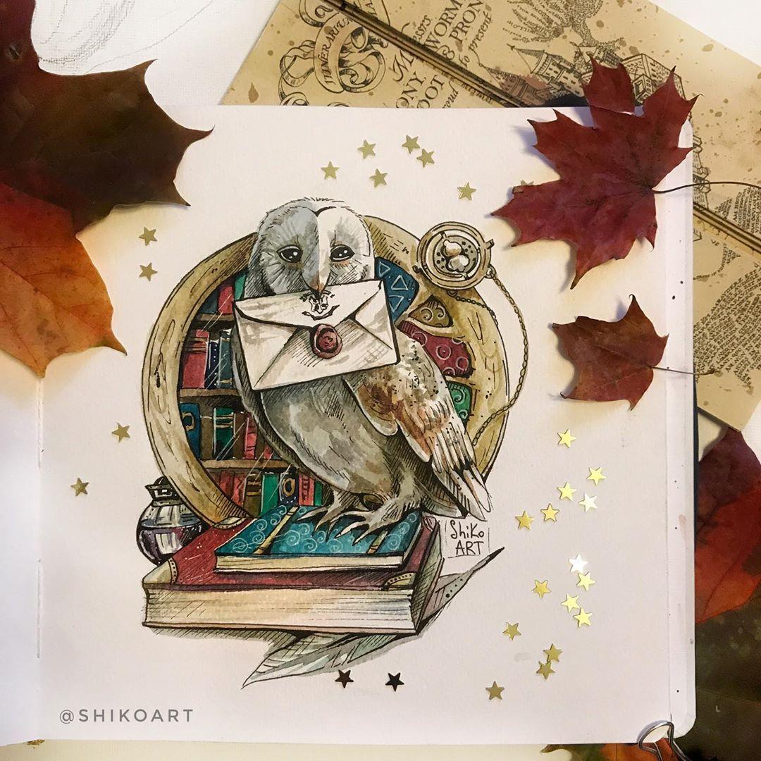 #сова #акварель #хогвартс #иллюстрация #длякниг # ...