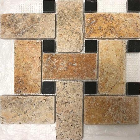 Large Basketweave Mosaic Tile Scabos Travertine Tile Black Dot